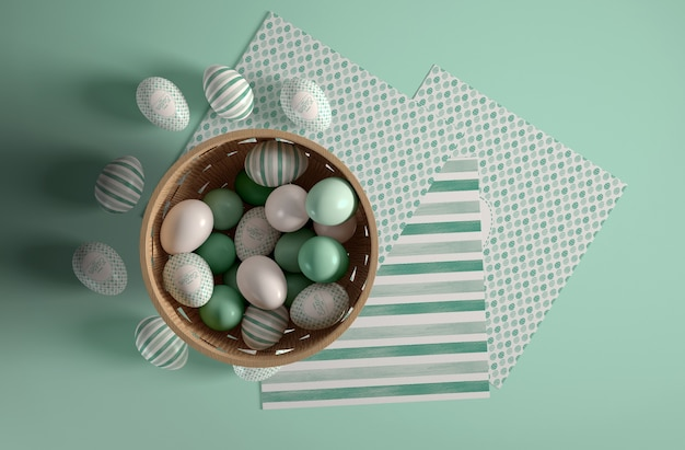 Flat lay bowl with painted eggs for easter