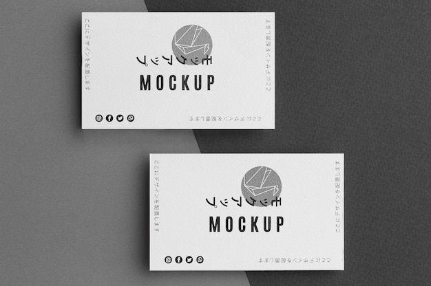 Flat lay business card mock-up arrangement