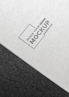 Flat lay business card mock-up on grey background