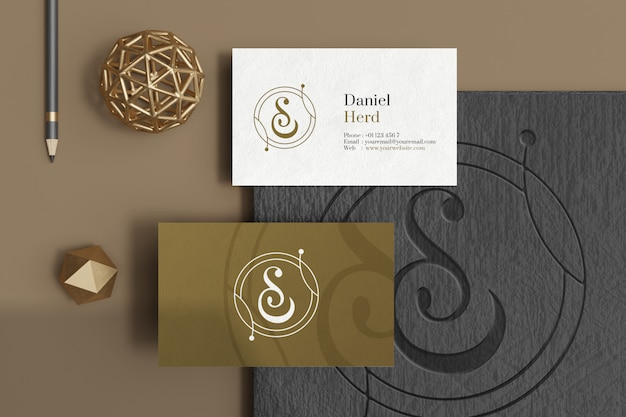 Flat lay of business card mockup