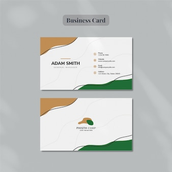 Flat lay on business card template