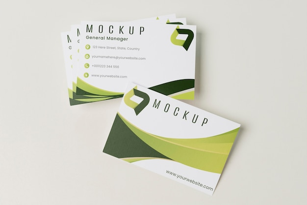 Flat lay business cards mock-up
