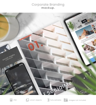 Flat lay business stationery mockup with phone and tablet