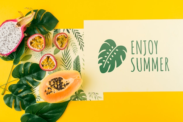 Flat lay card mockup for summer concepts