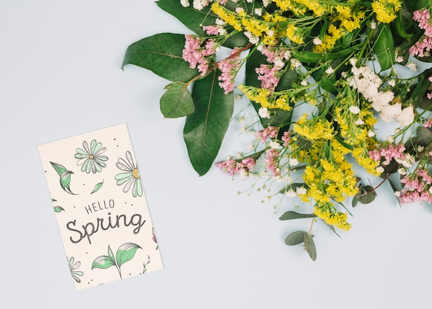 Flat lay card mockup with spring concept
