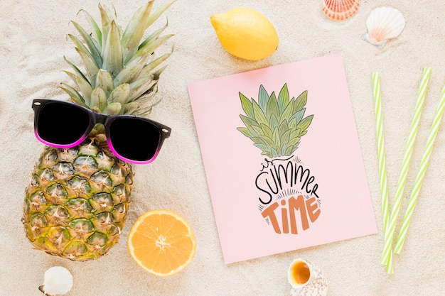 Flat lay card or paper mockup with summer elements