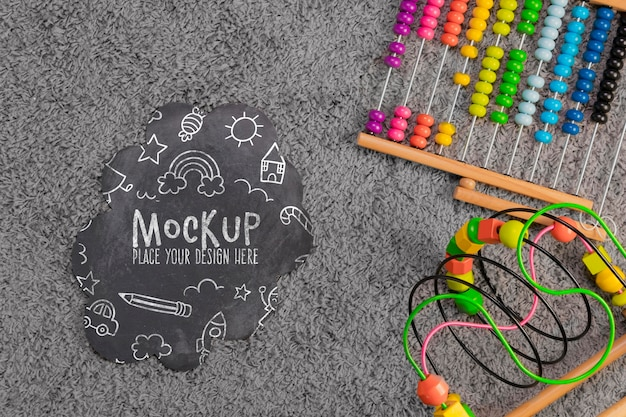 Flat lay of children colorful toys with copy space