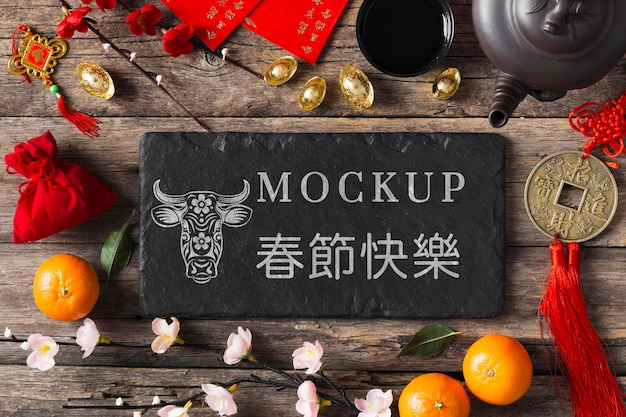Flat lay chinese new year 2021 mock-up Premium Psd