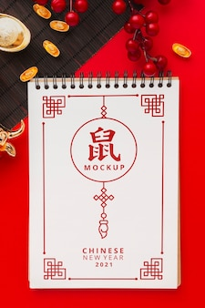 Flat lay of chinese new year mock-up