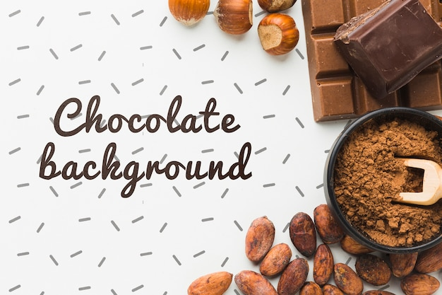 Flat lay chocolate background mock-up