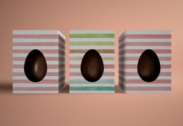 Flat lay chocolate eggs in boxes