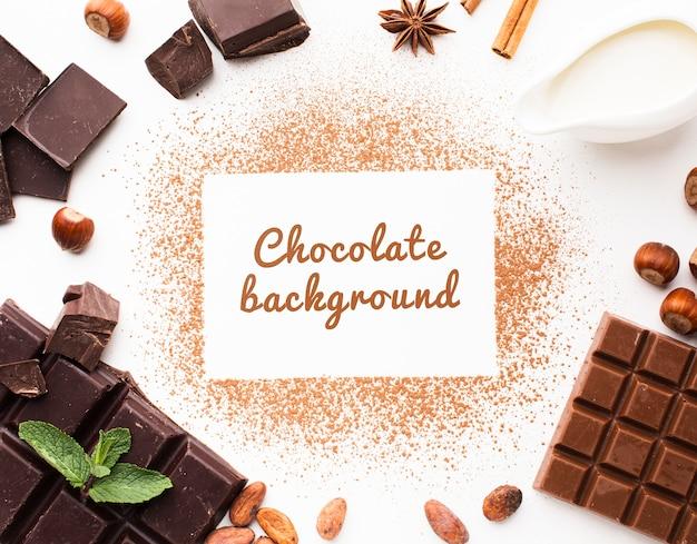 Плоский лежал шоколадный порошок фон макет