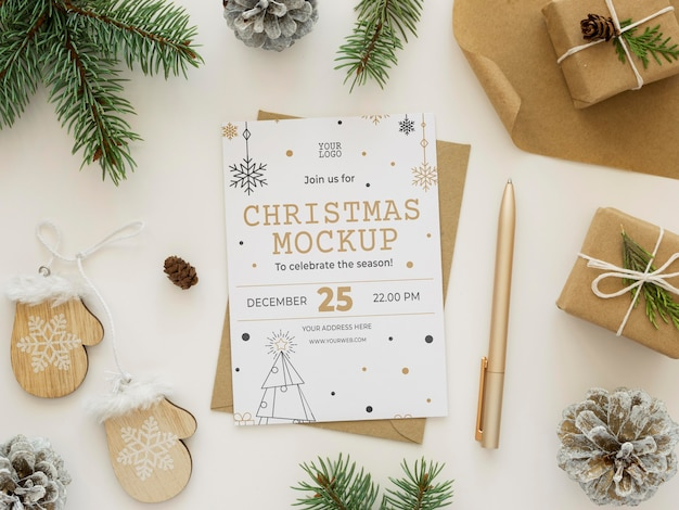 Flat lay christmas eve elements arrangement mock-up