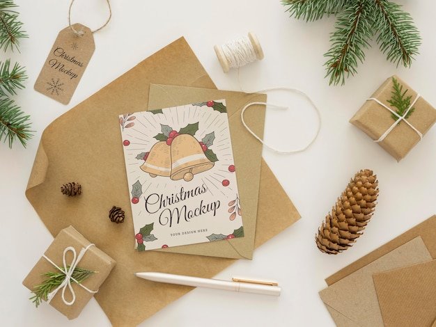 Flat lay christmas eve elements assortment mock-up