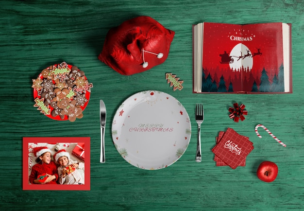 Flat lay of christmas scene creator mock-up