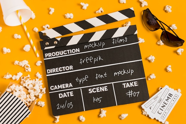 Flat lay cinema assortment