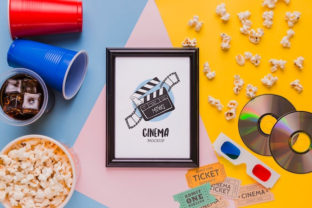 Flat lay cinema mock-up frame