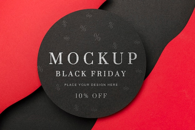 Flat lay circular mock-up black friday