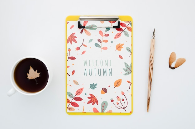 Flat lay clipboard mock-up with welcome autumn