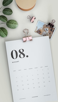 Flat lay clipped calendar mock-up