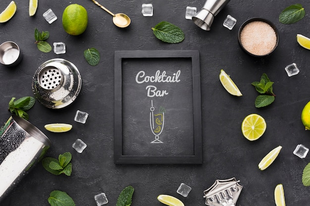 Flat lay of cocktail concept mock-up