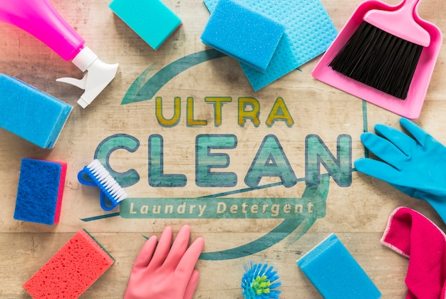 Flat lay colorful cleaning service equipment