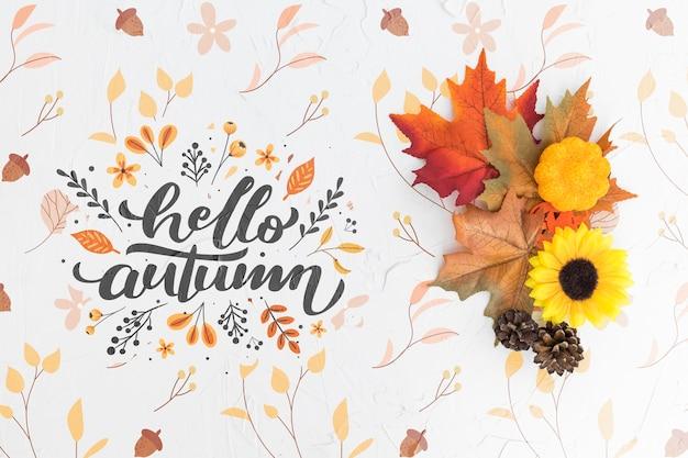 Disposizione piana di foglie colorate e fiori