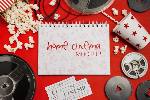 Flat lay composition of cinema elements mock-up