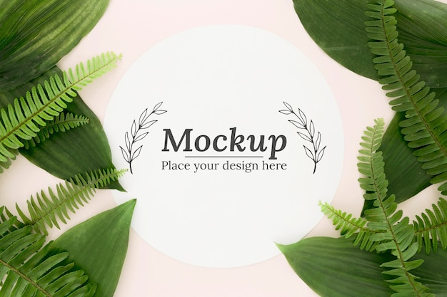 Composizione piatta di foglie verdi con mock-up