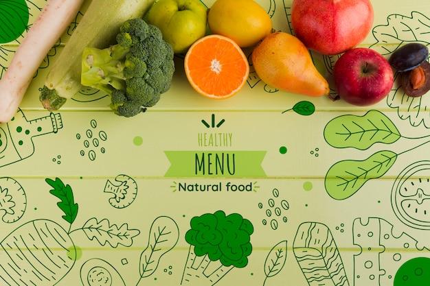 야채의 평평한 구성