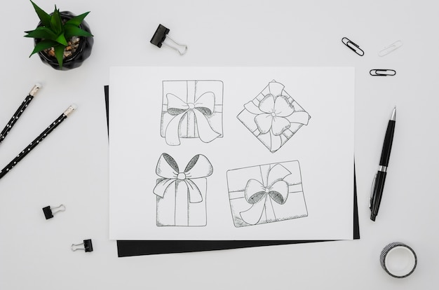 Flat lay composition with card mock-up