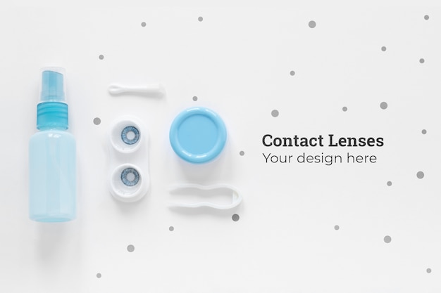 Flat lay contact lenses composition on white background