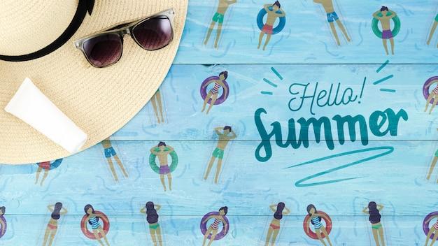 Плоский макет copyspace для летних концепций