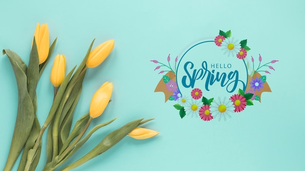 Flat lay copyspace mockup for spring