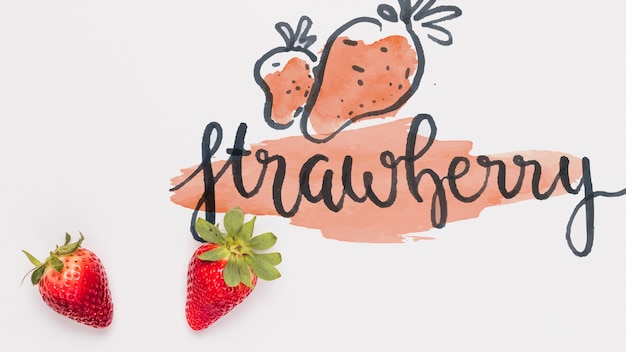 Flat lay copyspace mockup with strawberries