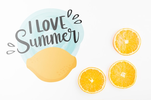 Flat lay copyspace mockup with summer concept