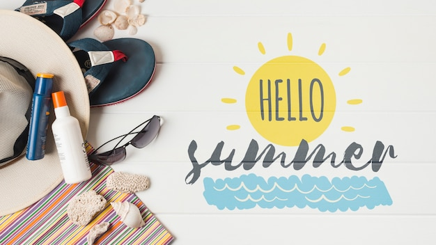 Flat lay copyspace mockup with summer elements