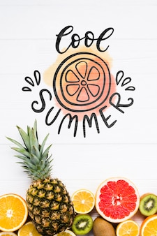 Flat lay copyspace mockup with summer fruits