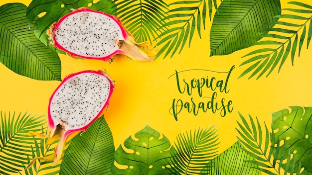 Flat lay copyspace mockup with tropical leaves