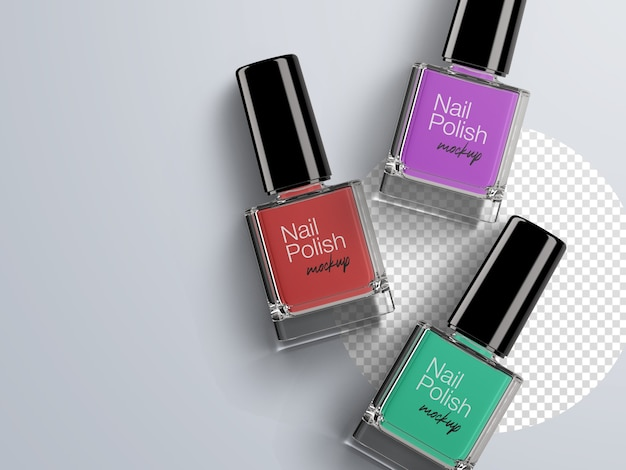Flat lay cosmetic mockup of colorful nail polish bottles packaging isolated