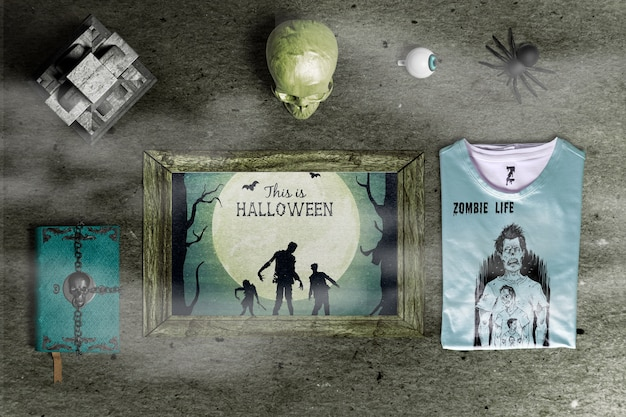 Flat lay of creepy halloween concept mock-up