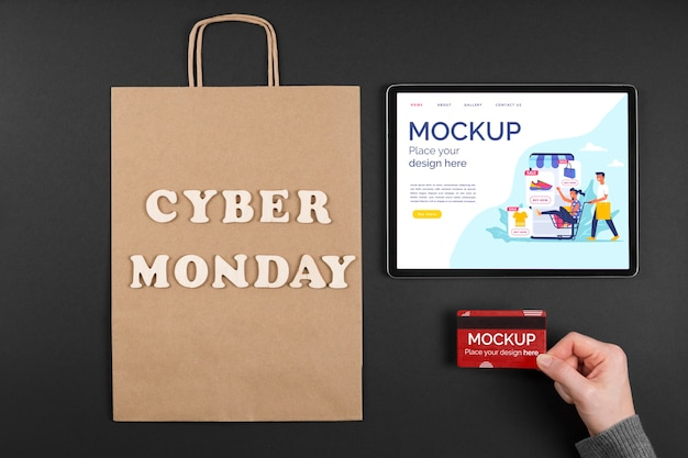 Flat lay of cyber monday concept mock-up