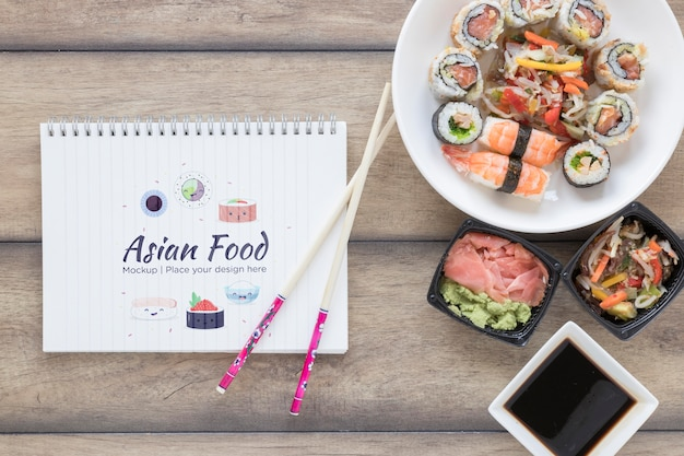 Flat lay delicious asian food concept