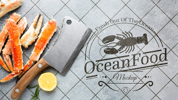 Flat lay delicious sea food composition with mock-up