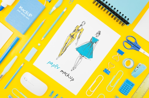 Flat lay designer and stationery items mock-up