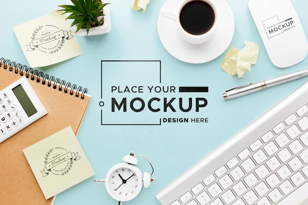 Flat lay of desk concept mock-up