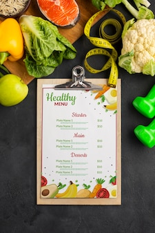 Flat lay diet menu with veggies