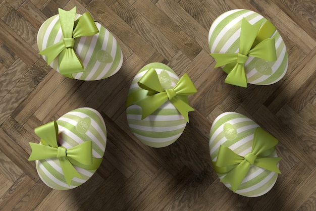 Flat lay eggs wrapped for easter celebration Free Psd