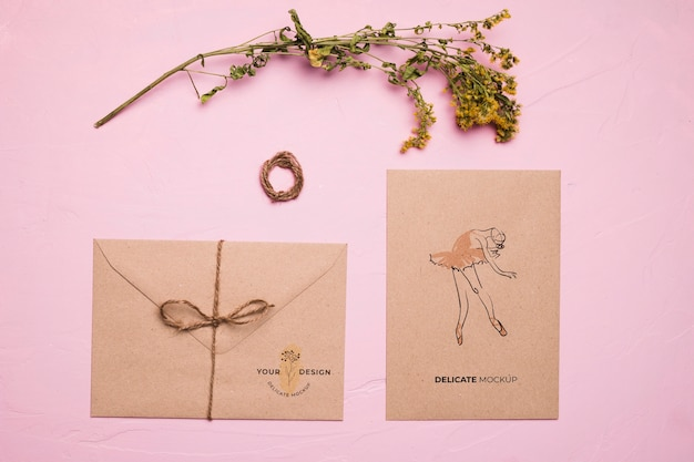 Flat lay envelope with ballerina