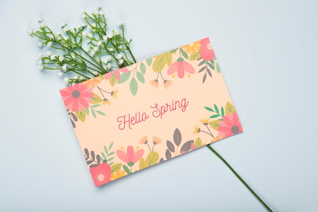 Flat lay of floral card for spring